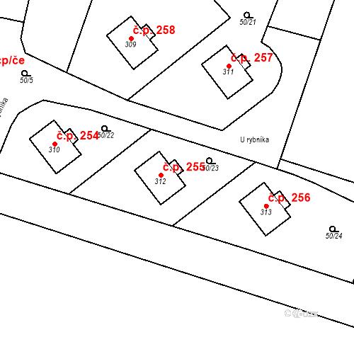 Katastrální mapa Stavební objekt Měšice 255, Měšice