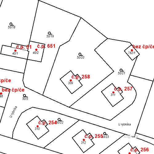 Katastrální mapa Stavební objekt Měšice 258, Měšice
