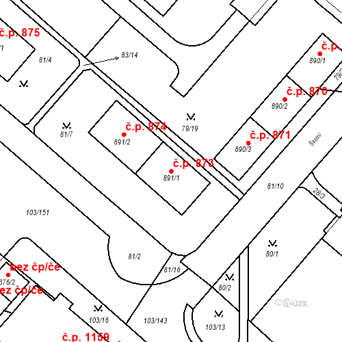 Katastrální mapa Stavební objekt Neratovice 873, Neratovice
