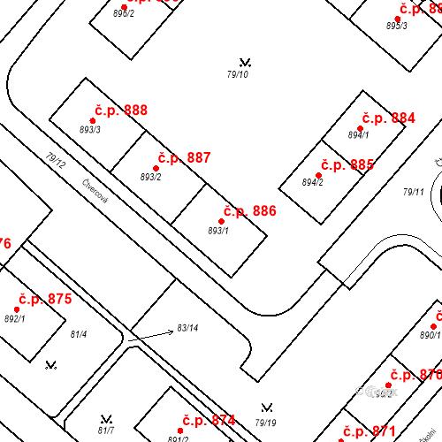 Katastrální mapa Stavební objekt Neratovice 886, Neratovice