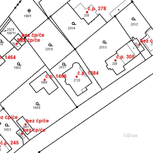 Katastrální mapa Stavební objekt Neratovice 1384, Neratovice
