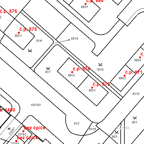 Katastrální mapa Stavební objekt Neratovice 874, Neratovice