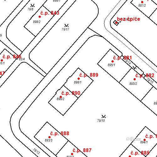 Katastrální mapa Stavební objekt Neratovice 889, Neratovice