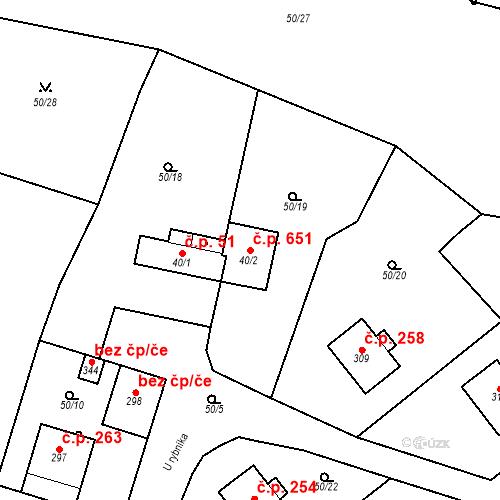 Katastrální mapa Stavební objekt Měšice 651, Měšice