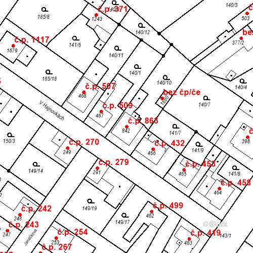 Katastrální mapa Stavební objekt Neratovice 863, Neratovice