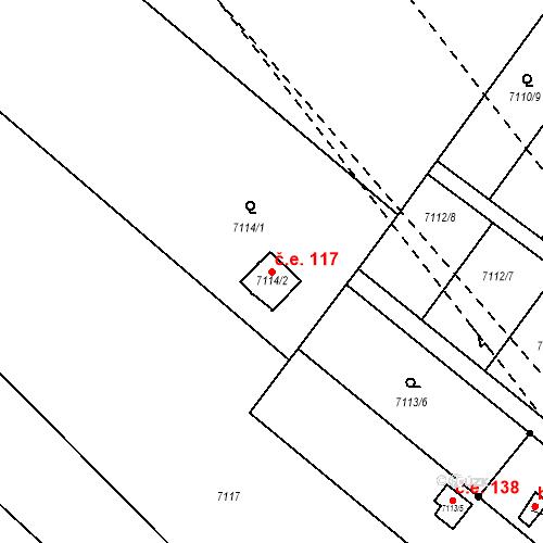 Katastrální mapa Stavební objekt Mělník 117, Mělník