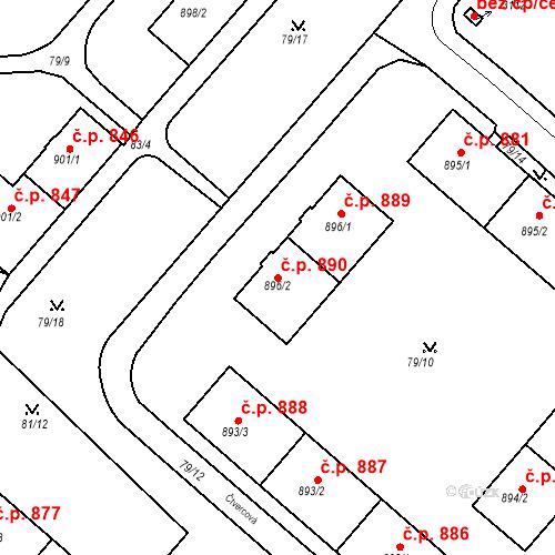 Katastrální mapa Stavební objekt Neratovice 890, Neratovice