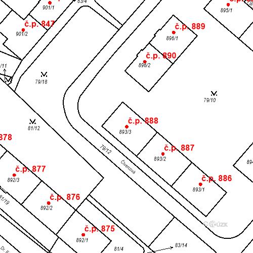 Katastrální mapa Stavební objekt Neratovice 888, Neratovice