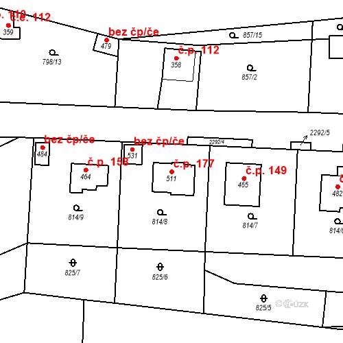 Katastrální mapa Stavební objekt Pecerady 177, Týnec nad Sázavou