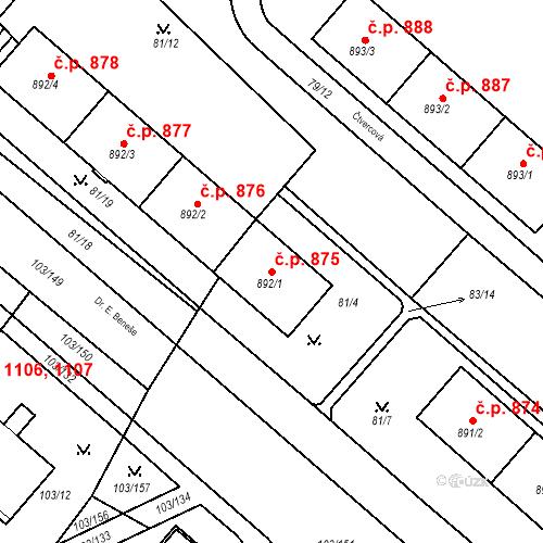 Katastrální mapa Stavební objekt Neratovice 875, Neratovice