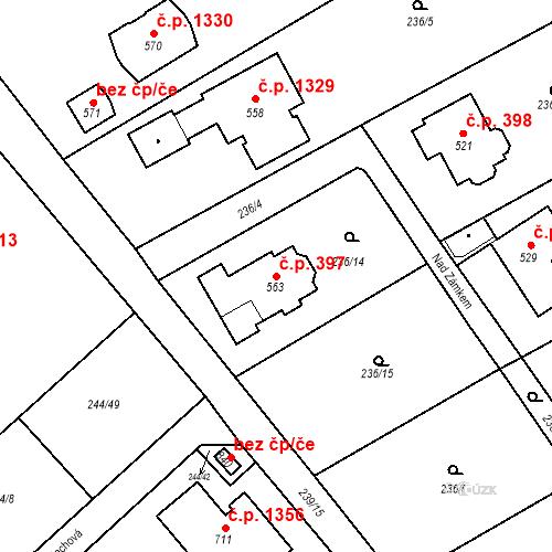 Katastrální mapa Stavební objekt Nová Hospoda 397, Kamenice