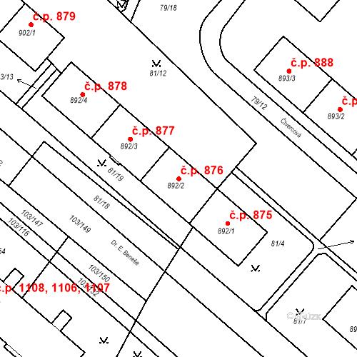 Katastrální mapa Stavební objekt Neratovice 876, Neratovice