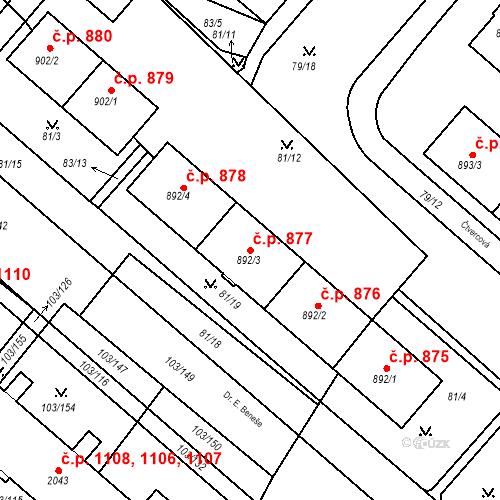 Katastrální mapa Stavební objekt Neratovice 877, Neratovice