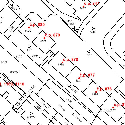 Katastrální mapa Stavební objekt Neratovice 878, Neratovice