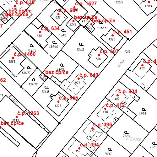 Katastrální mapa Stavební objekt Neratovice 640, Neratovice