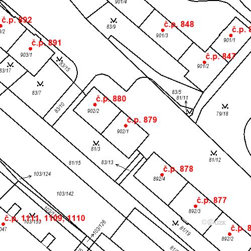 Katastrální mapa Stavební objekt Neratovice 879, Neratovice