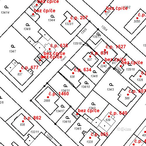Katastrální mapa Stavební objekt Neratovice 634, Neratovice