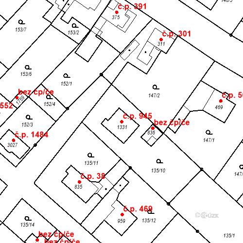 Katastrální mapa Stavební objekt Neratovice 945, Neratovice