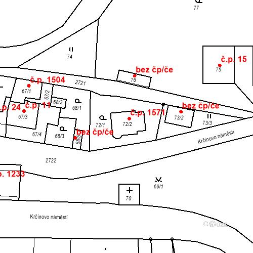 Katastrální mapa Stavební objekt Kyje 1571, Praha