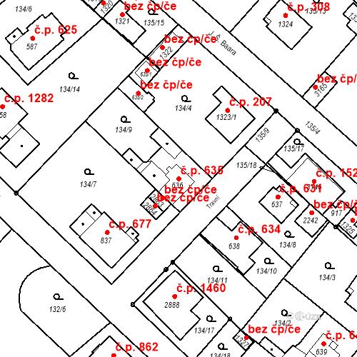 Katastrální mapa Stavební objekt Neratovice 635, Neratovice