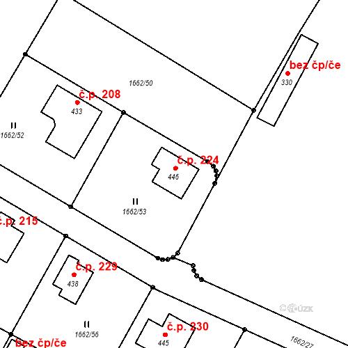 Katastrální mapa Stavební objekt Olbramovice Ves 224, Olbramovice