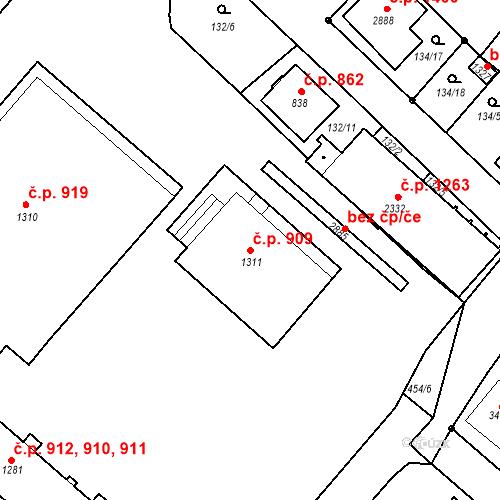 Katastrální mapa Stavební objekt Neratovice 909, Neratovice