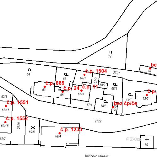 Katastrální mapa Stavební objekt Kyje 1504, Praha