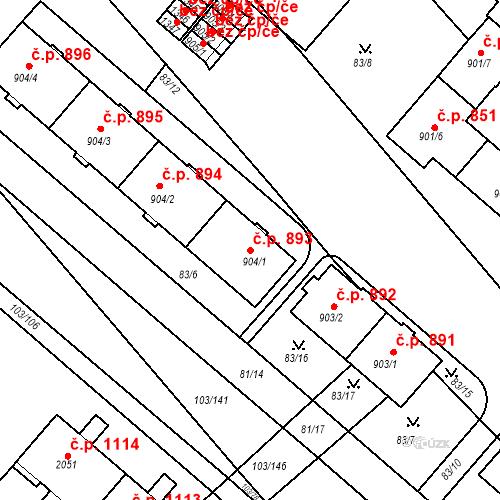 Katastrální mapa Stavební objekt Neratovice 893, Neratovice