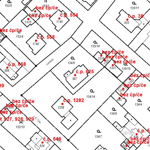 Katastrální mapa Stavební objekt Neratovice 625, Neratovice