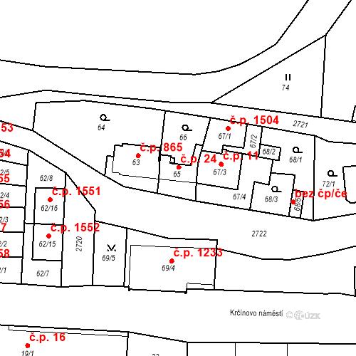 Katastrální mapa Stavební objekt Kyje 24, Praha