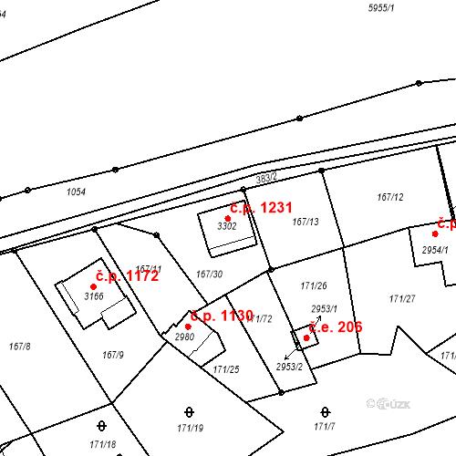 Katastrální mapa Stavební objekt Sezimovo Ústí 1231, Sezimovo Ústí