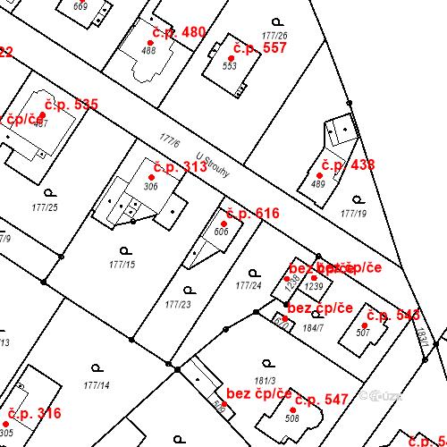 Katastrální mapa Stavební objekt Neratovice 616, Neratovice