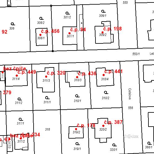 Katastrální mapa Stavební objekt Petrovice 436, Praha
