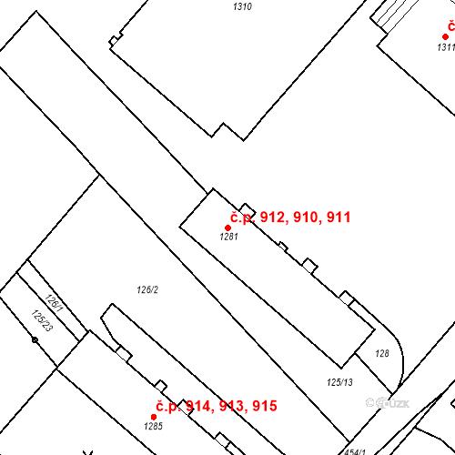 Katastrální mapa Stavební objekt Neratovice 910, 911, 912, Neratovice