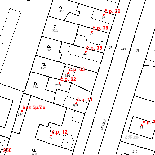 Katastrální mapa Stavební objekt Měšice 63, Měšice