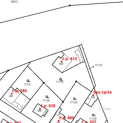 Katastrální mapa Stavební objekt Neratovice 612, Neratovice