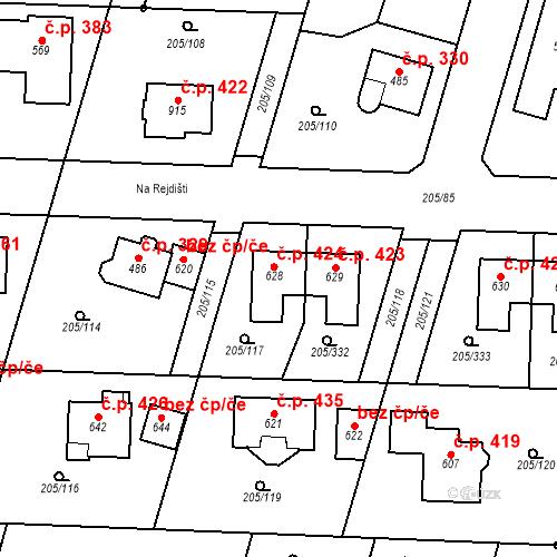 Katastrální mapa Stavební objekt Měšice 424, Měšice