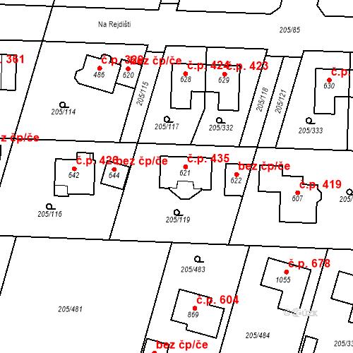 Katastrální mapa Stavební objekt Měšice 435, Měšice