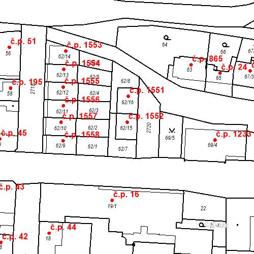 Katastrální mapa Stavební objekt Kyje 1552, Praha