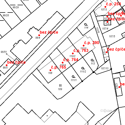Katastrální mapa Stavební objekt Třeboň II 764, Třeboň