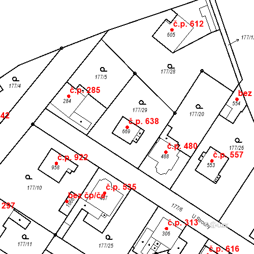 Katastrální mapa Stavební objekt Neratovice 638, Neratovice
