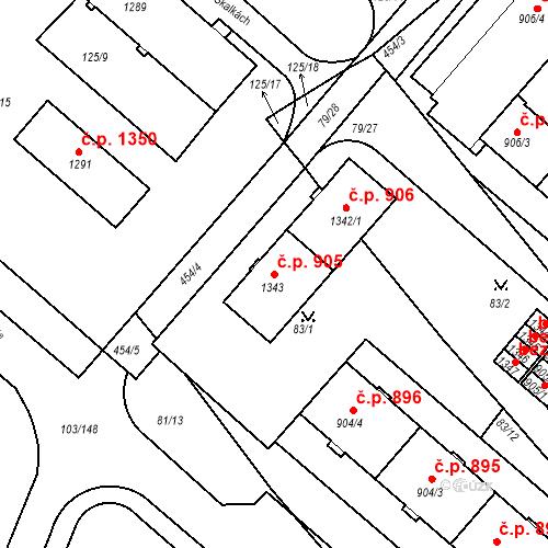 Katastrální mapa Stavební objekt Neratovice 905, Neratovice