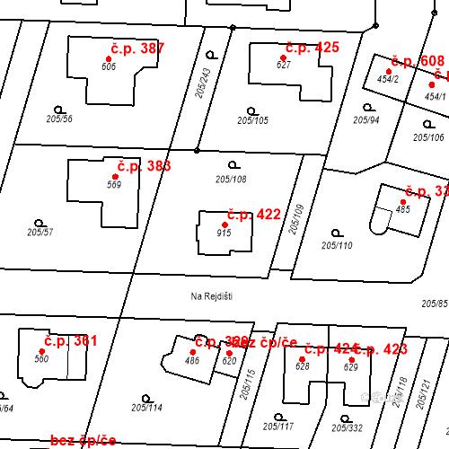 Katastrální mapa Stavební objekt Měšice 422, Měšice