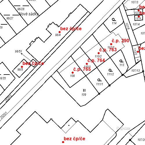 Katastrální mapa Stavební objekt Třeboň II 765, Třeboň