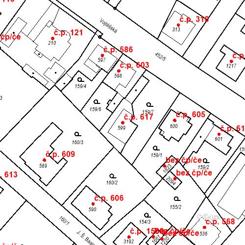 Katastrální mapa Stavební objekt Neratovice 617, Neratovice