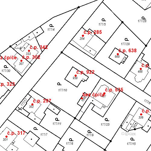 Katastrální mapa Stavební objekt Neratovice 922, Neratovice