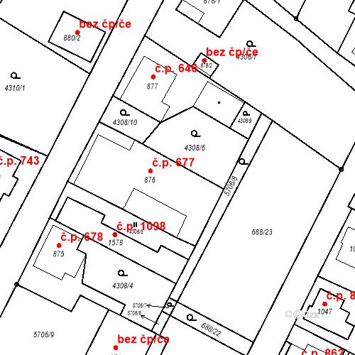 Katastrální mapa Stavební objekt Mikulášovice 677, Mikulášovice
