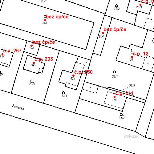 Katastrální mapa Stavební objekt Měšice 250, Měšice