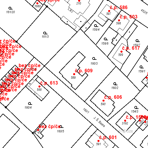 Katastrální mapa Stavební objekt Neratovice 609, Neratovice