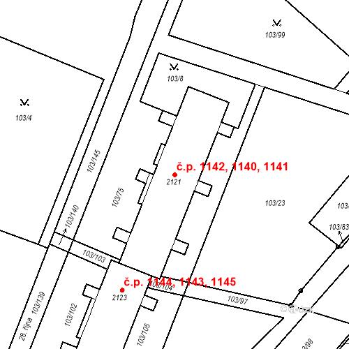 Katastrální mapa Stavební objekt Neratovice 1140, 1141, 1142, Neratovice